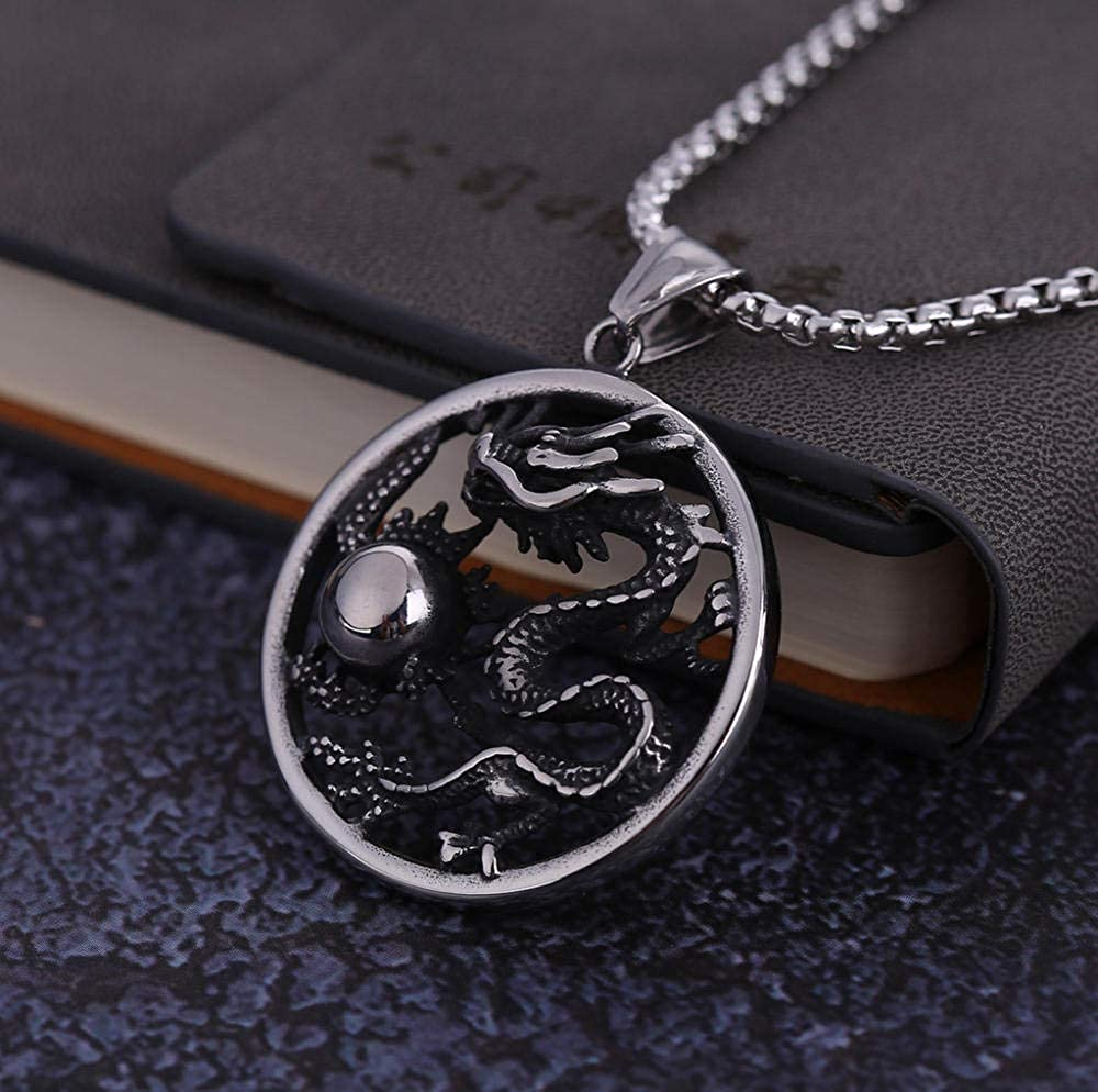 WANGXJ European and American Chinese Style Pendant Men Titanium Steel Dragon Zodiac Necklace Simple Birthday Gift Accessories