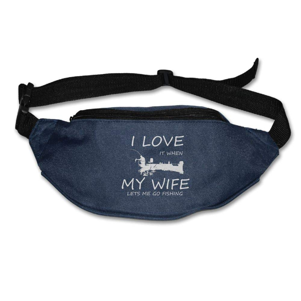 Ada Kitto I Love It When My Wife Lets Me Go Fishing Mens&Womens Sport Style Waist Pack For Running And Cycling Navy One Size