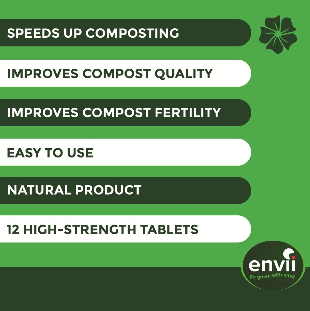 Envii Compost Accelerator – Organic Compost Accelerator & Activator Speeds Up Composting Process – 12 Tablets Bio8