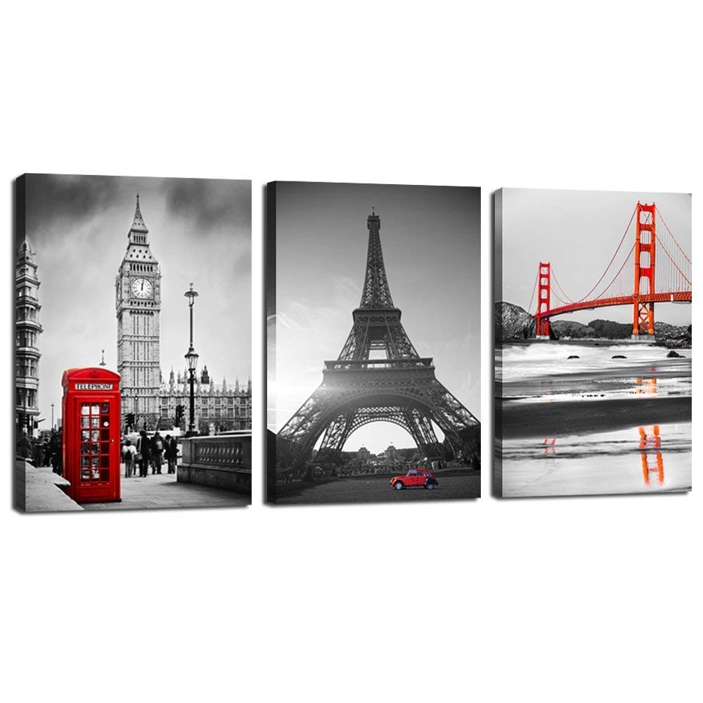 LevvArts - 3 Piece Canvas Prints Wall Art Black and White Red Paris Eiffel Tower Golden Gate Bridge Tower of London Pictures Painting Modern City Poster Framed for Living Romm Home Office