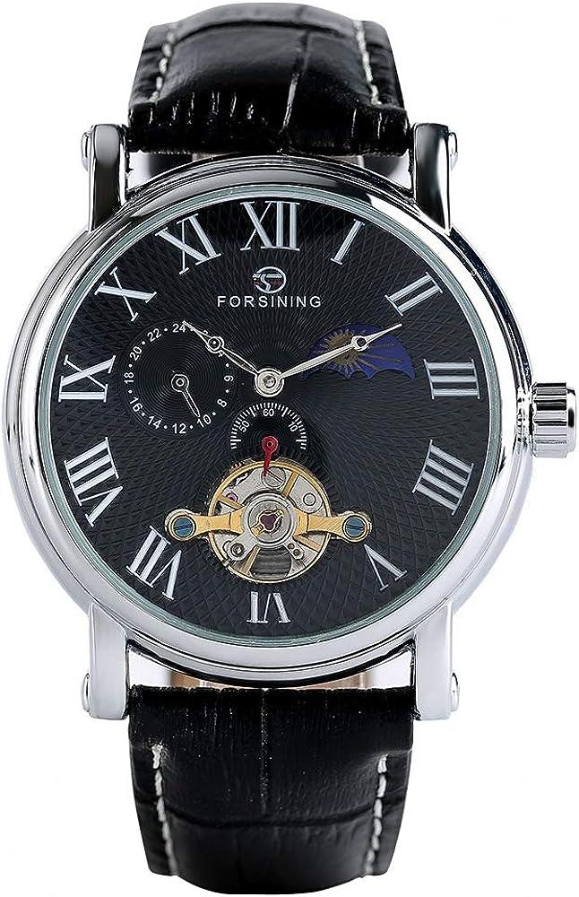 Orologio meccanico automatico da uomo, in pelle, impermeabile, nero Nero