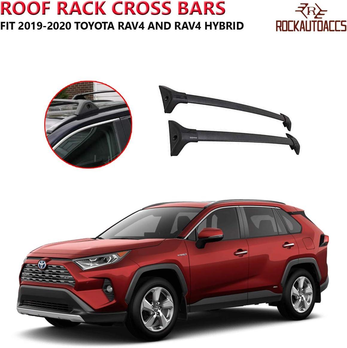 ROKEXUS Roof Rack Crossbars fits 2019 2020 Toyota RAV4 and Hybrid Low Profile Flush Side Rail Cross Bars One Pair Black Aluminum Roof Rail for Cargo Ski Kayak Carrier