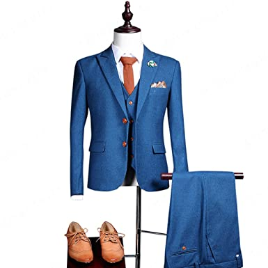 Maxudrs 2018 New Fashion Men Suit Blue Wool Suits Casual Slim Fit