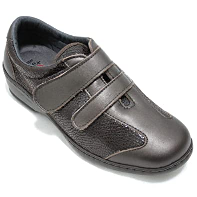 Notton 2370 Zapatos Clásicos Mujer Marrones De Piel Y Licra Ancho Especial Cómodos Y Plantilla Extraible Talla 41 Color Marró
