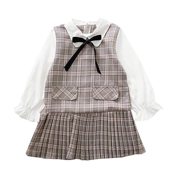 OPAKY Vestidos Niñas Vestido de Traje de Marinero Mangas Largas ...