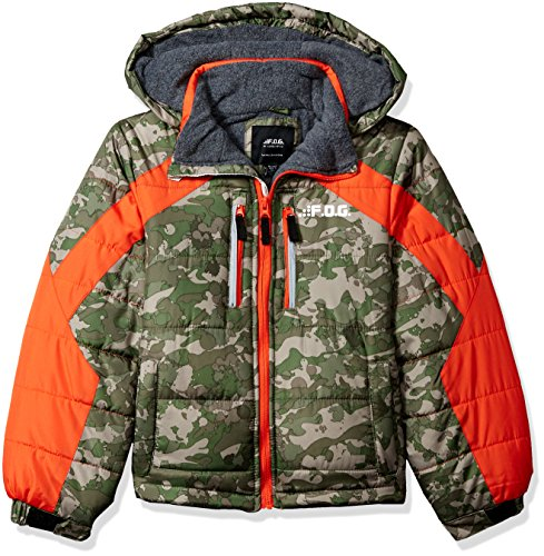 London Fog Boys' Little Active Puffer Jacket Winter Coat, Real Green camo, 4 (Camo Winter Coat For Boys)