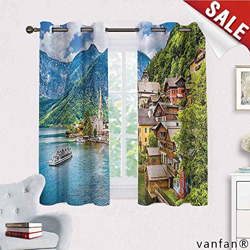 Big datastore Wanderlust Decor Collection Curtain Set of 2,Famous Hallstatt Mountain Village with Lake in The Austrian Alps Countryside Tour Picture Multicolor Printed,Blue W72 x -