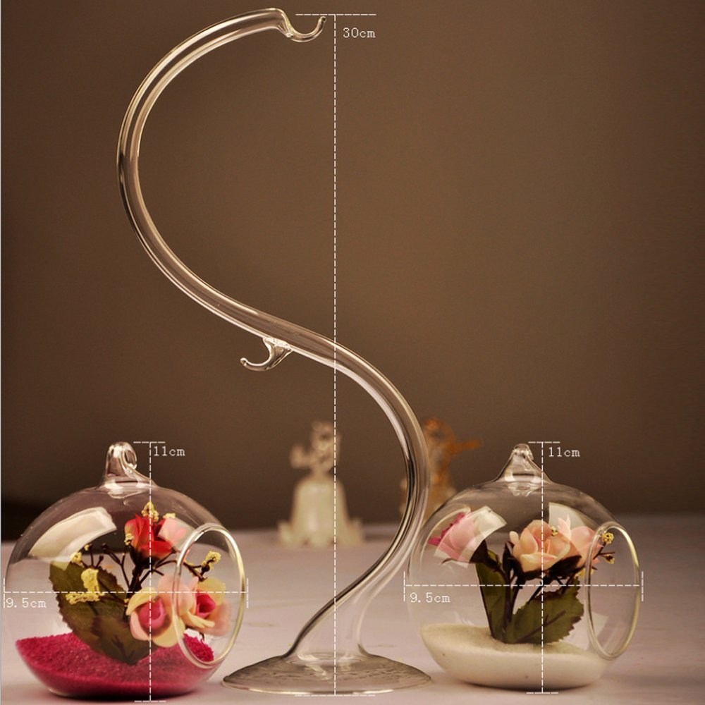 Homestia Home Decor Hang Ball Crystal Clear Double Glass Flower Vase Hydroponic Container