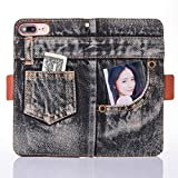 For iPhone 6S Plus Case, Cover for iPhone 6 Plus Flip Case, CrazyLemon Creative Jeans Pattern PU Leather Cover Wallet Case with Card Slot Holder Kickstand Magnetic Closure Full Body Case Protective Case Cover for iPhone 6S Plus / 6 Plus 5.5 inch - Black