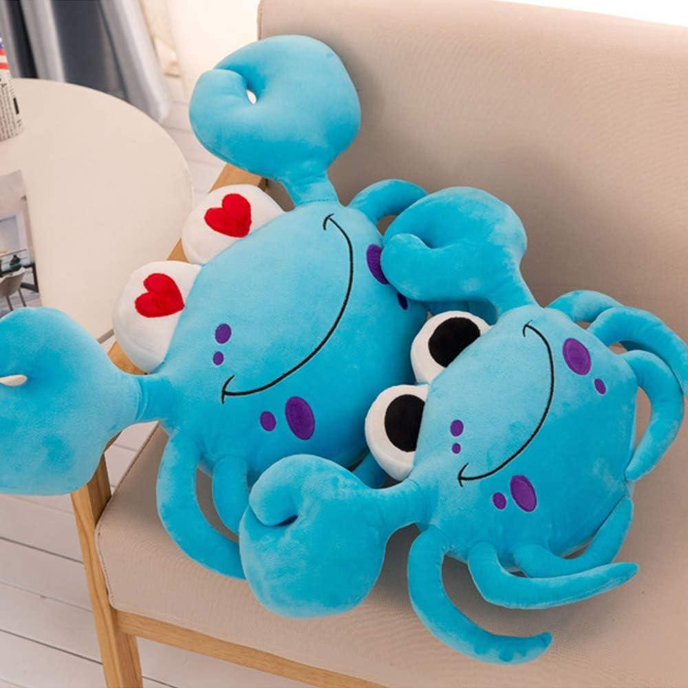 DecoBay Peluche Crabe Coussin Oreiller Mignon Moelleux Peluche pour Cadeaux Bleu, 60X35CM