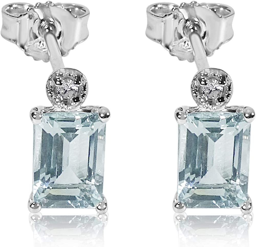 MILLE AMORI ∞ Pendientes Mujer Oro y Diamantes - Oro Blanco 9 Kt 375 ∞ Diamantes 0.05 Kt - Aguamarina 2,6 Kt