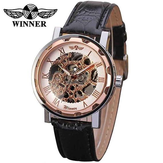 HWCOO Relojes Reloj mecánico de Hombres T-Winner Full Hueco para Hombres (Color :