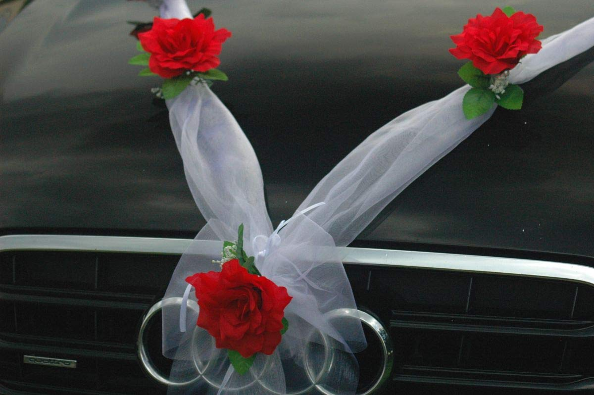 Ecru Autoschmuck Organza M D/écoration de voiture de mariage ruban organza et roses Ecru2