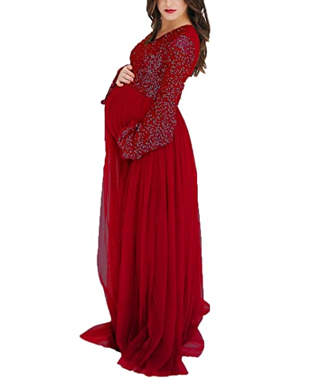 Ri Yun Women S Sequins Long Sleeves Maternity Dresses For