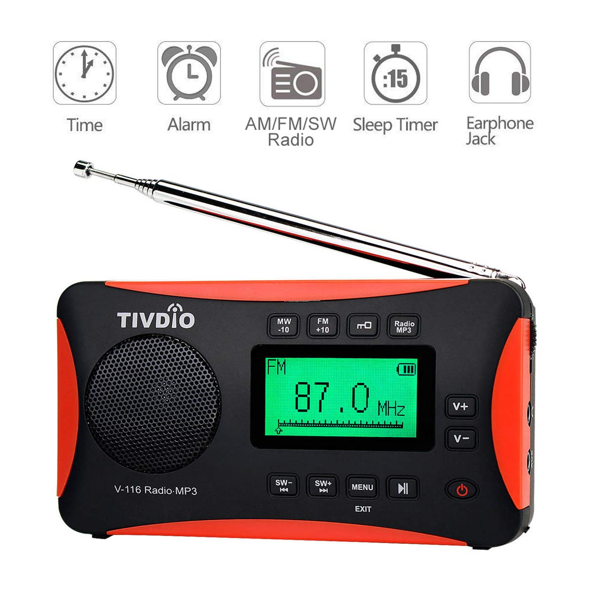 Tivdio Radio Portátil FM MW SW Receptor Mundial Reproductor de MP3 Despertador con Temporizador con Batería Recargable: Amazon.es: Electrónica