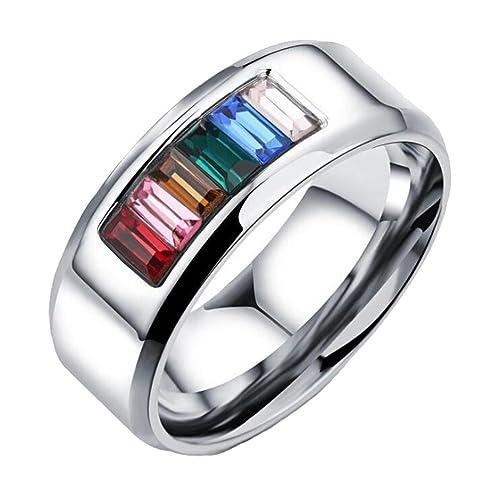 PAURO Unisex Acero Inoxidable Anillos de Boda Cristales de Orgullo Gay Arco Iris Tamaño 12