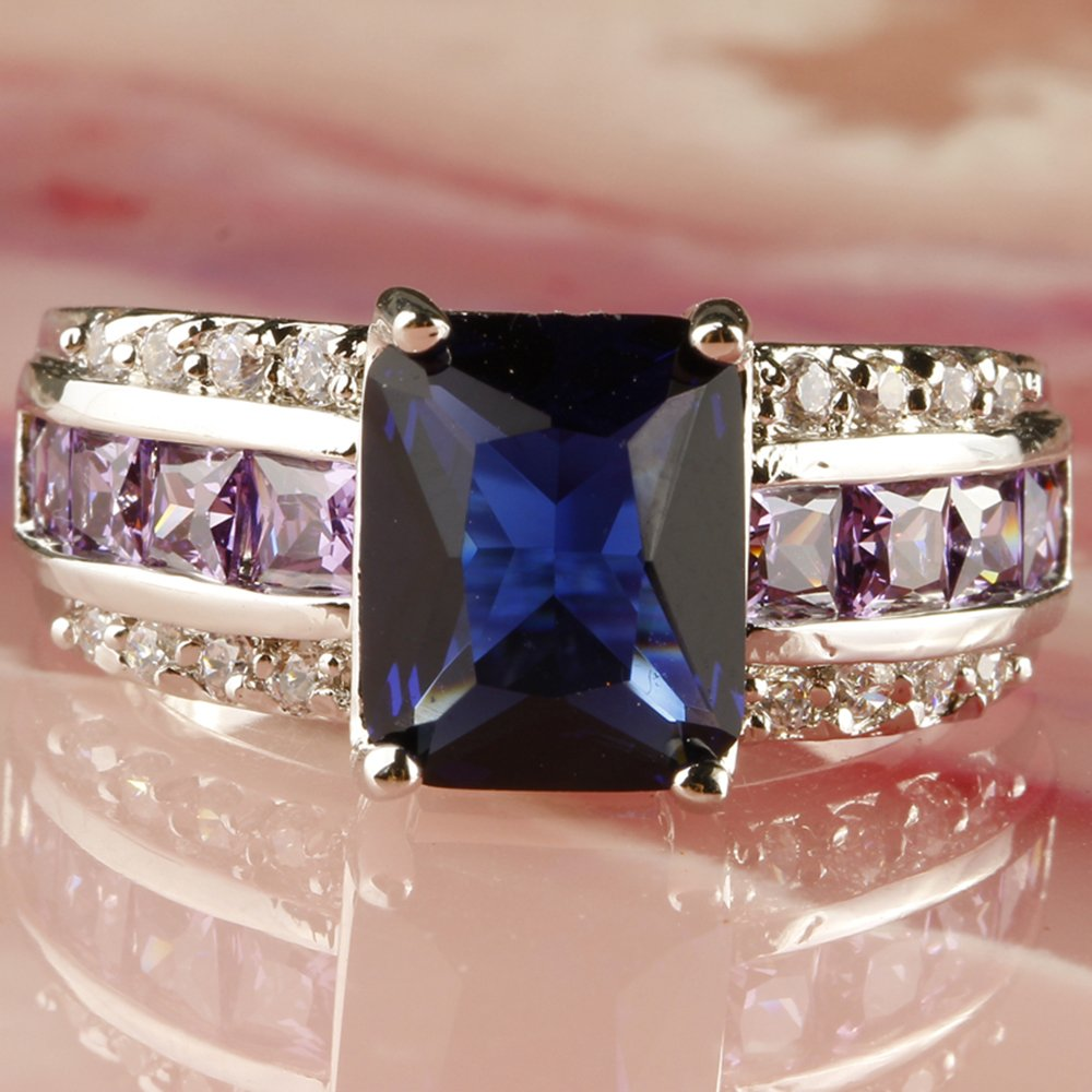 Psiroy Womens 925 Sterling Silver Created Morganite Filled Anniversary Ring