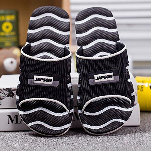 UE zapatillas baño black frescas 1509 de hogar de men antideslizante interior Zapatillas parejas para zapatillas fondo grueso casual zapatillas el verano RUGAI are baño XwgdX