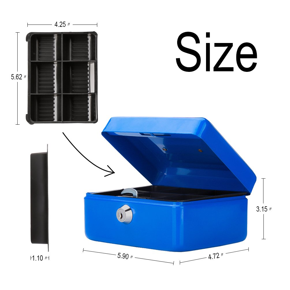 QH1509XS Small Cash Box with Key Lock Black Decaller Portable Metal Money Box with Double Layer /& 2 Keys for Security 6 1//5 x 5 x 3