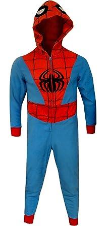 0028d495a2ba MJC Men s Spiderman Hooded Fleece One Piece Slim Cut Pajama (Small) Blue