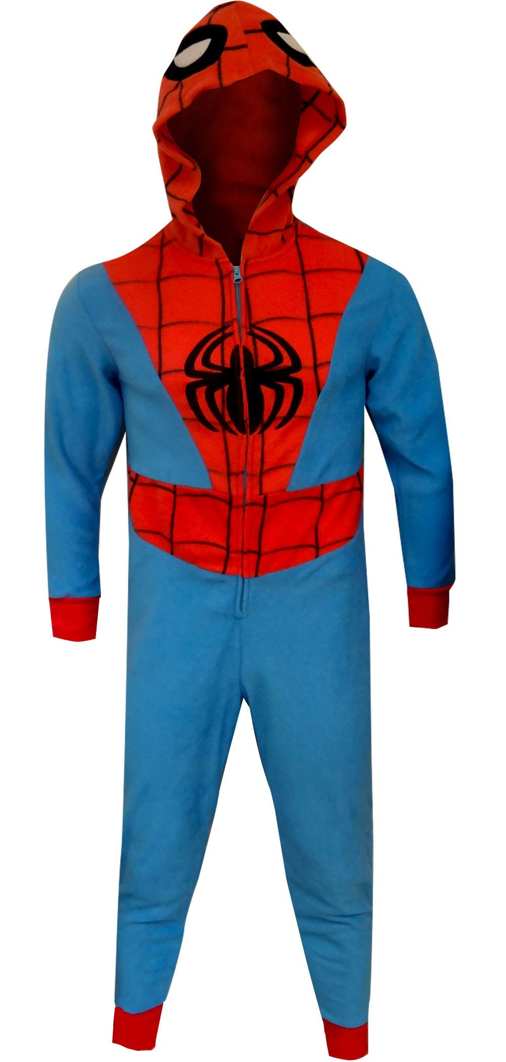 MJC Men's Spiderman Hooded Fleece One Piece Slim Cut Pajama (3X/4X) Blue