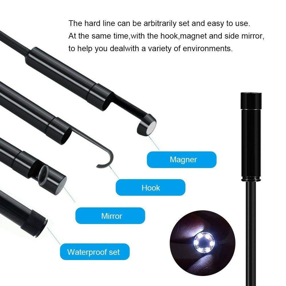 Appareil-Photo endoscopique imperm/éable de 8 LED 7mm HD IP68 pour landro/ïde//Smartphone//comprim/é//Ordinateur Portable vap26 Endoscopic dappareil-Photo dinspection de 1M-10M