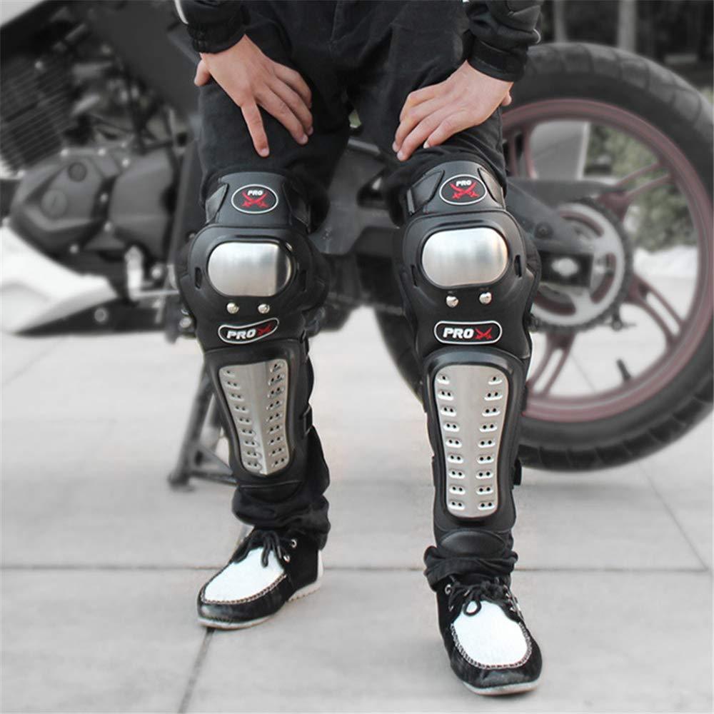 BaronHong 4 piezas Motocicleta Ciclismo Aleaci/ón Acero Codo Rodilleras Shin Body Armor negro, M