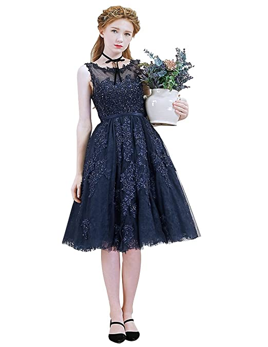 fd973852d0541 Amazon.com: Beauty-Emily Cocktail Gowns for Women Lace Sleeveless Short  Plus A line: Clothing