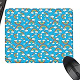 Rainbow Extra Large Mouse Pad Sky with Star Burst Magical Rainbows and Puffy Clouds Groovy Doodles of Hippie Art with Stitched Edges 23.6'x15.7' Multicolor