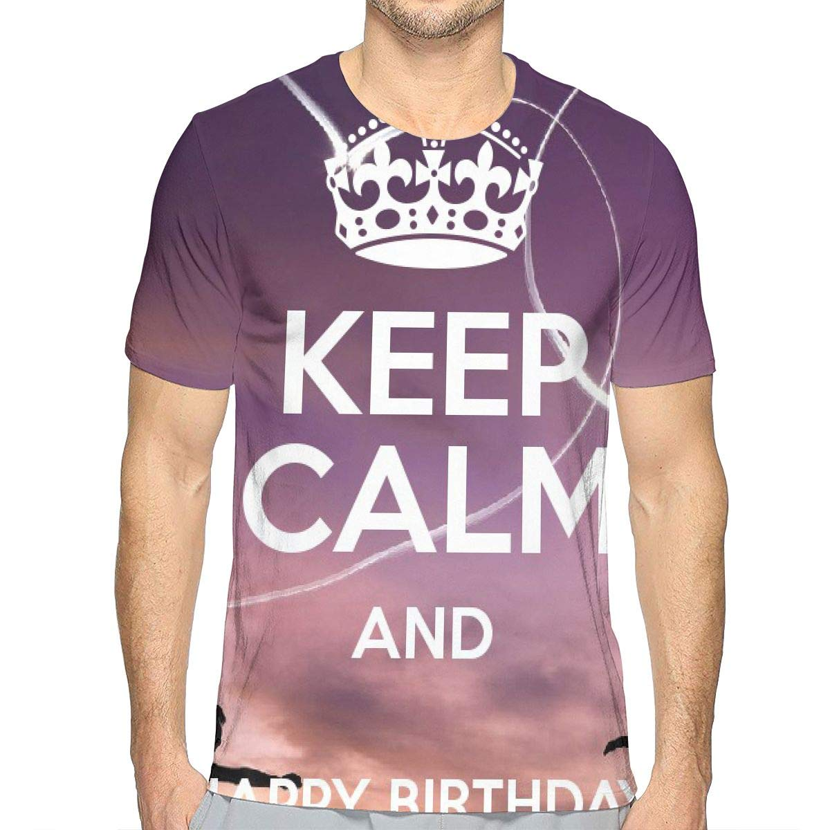 Keep Calm and Happy Birthday Mens 3D Novelty T Shirts Funny Graphic Tees Crewneck Short Sleeve Summer Top