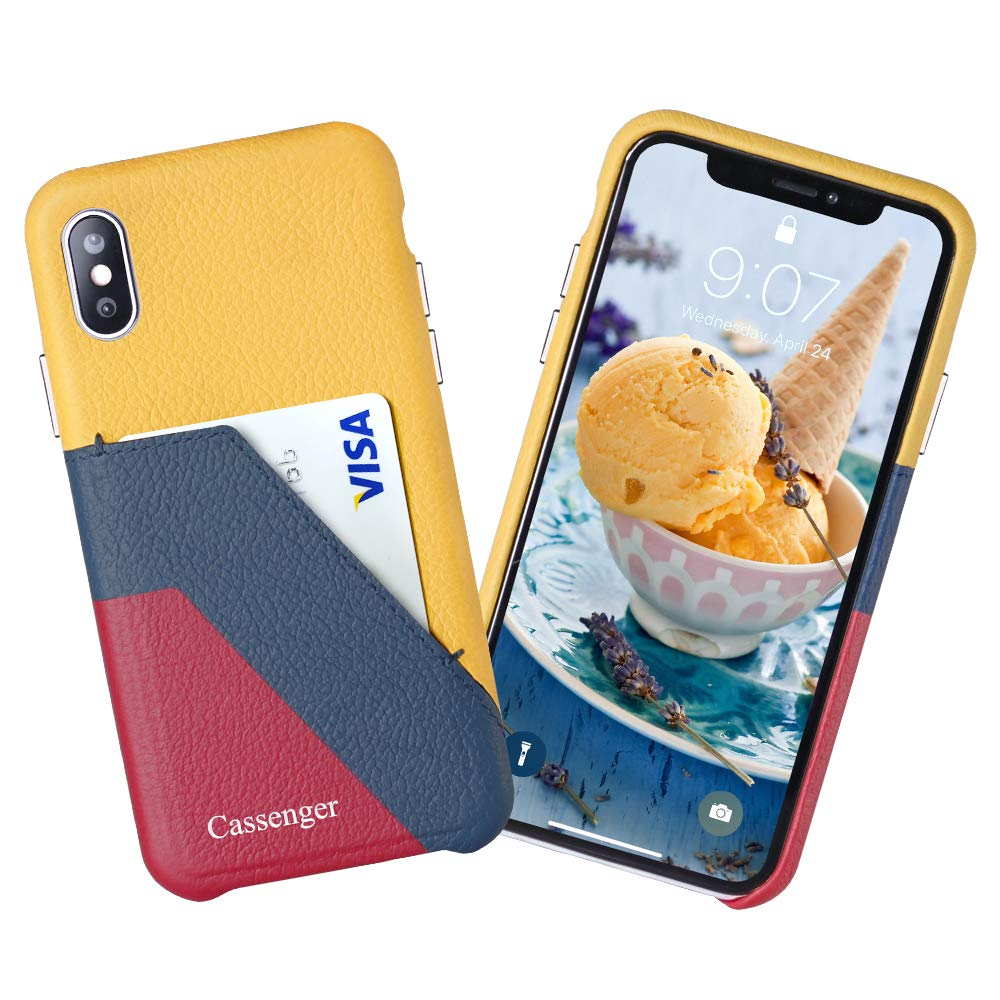Cassenger Slim Fit Genuine Italian Leather with Card Slot Holder Wallet Case Compatible with iPhone Xs 5.8 inches (2018) - Lemon/Blue/Red