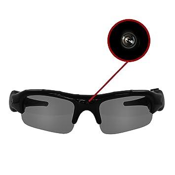 Eaxus Action Videobrille / Spionbrille / Kamerabrille. Actionkamera mit Sonnenbrille - mini Kamera und Mikrofon. Versteckte Videokamera, Camcorder VGA Überwachungskamera.