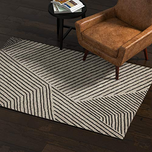 - Rivet Contemporary Wool Rug, 4' x 6', Gray and Charcoal