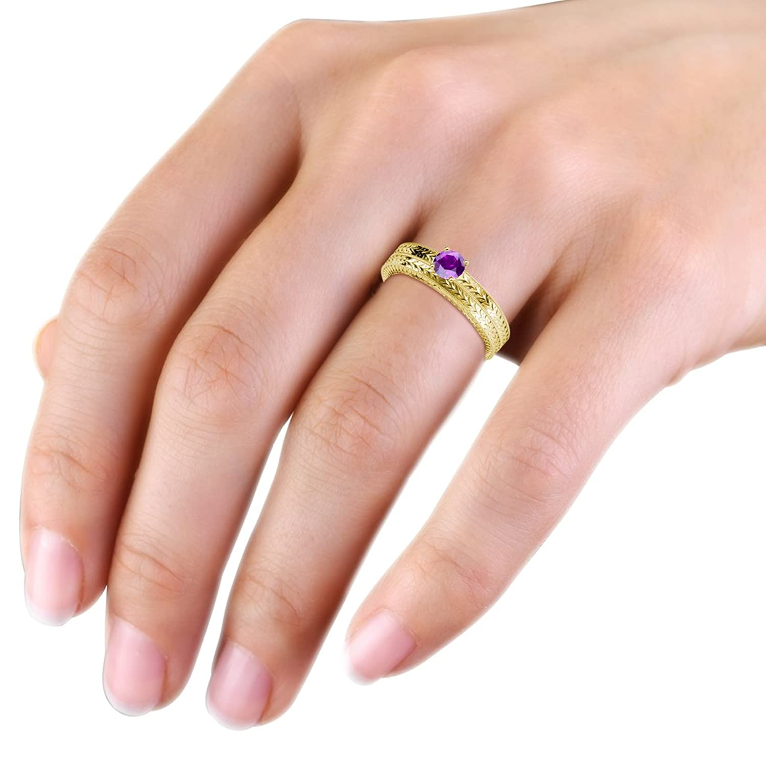 Amazon.com: Amethyst Engraved Solitaire Engagement Ring & Wedding ...