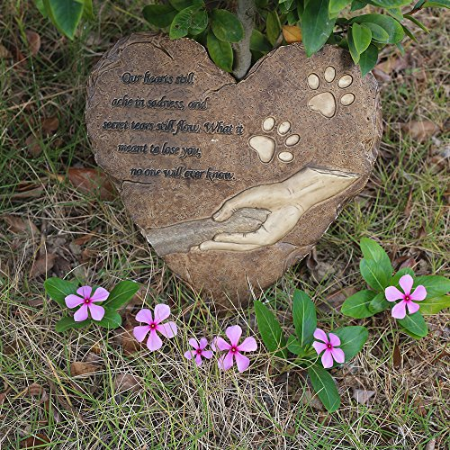 Jhb Pet Memorial Stepping Stone Heart Shape For Garden Decor Dog Or Cat For Garden Backyard