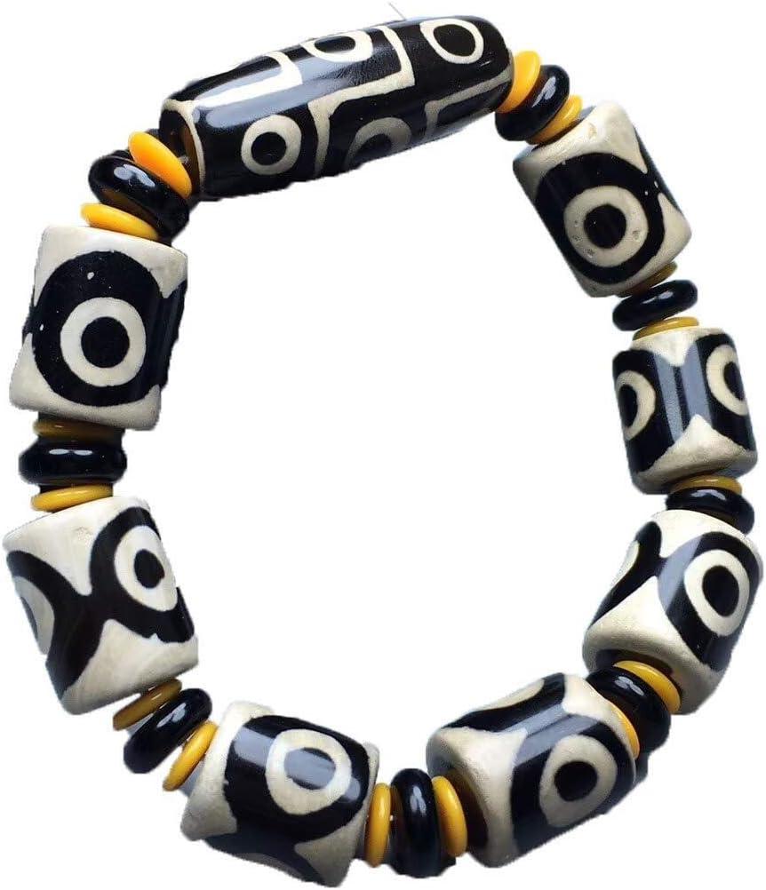 Collar de Moda para Mujer Granos de la Perla Esmeralda Pulsera Pulsera de ágata Pulida a Mano Tallada y tibetanos Viejos en Blanco y Negro Perlas de calcedonia Pulseras Izar
