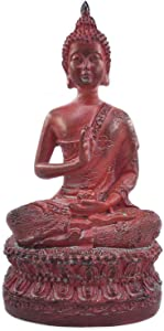 Ornerx Thai Sitting Buddha Statue for Home Decor Red 6.7