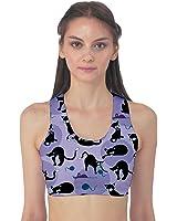 Blue Cats in Acction Pattern Women's Sport Bra