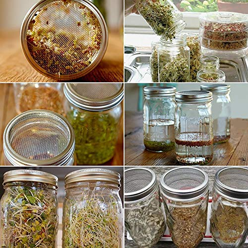 CUSFULL 6 Pack Sprouting Lids for Wide Mouth Mason Jars -Stainless Steel Strainer Lid for Canning Jars and Seed Sprouting Screen by CUSFULL (Image #6)