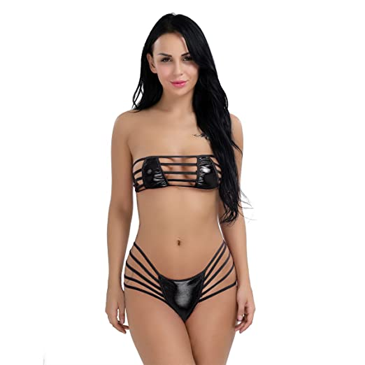 shopping competitive price select for authentic Amazon.com: iEFiEL Women Strappy Wet Look Strapless Bra Top ...