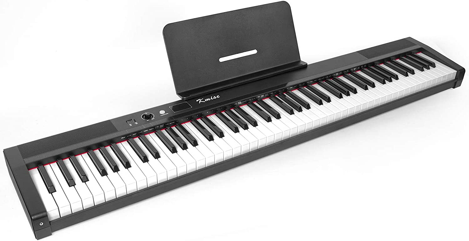 Kmise Digital Piano 88 Key Full Size Semi Weighted Electronic Keyboard with Music Stand,Power Supply,Sustain Pedal,Bluetooth,MIDI,for Beginner Professional at Home/Stage