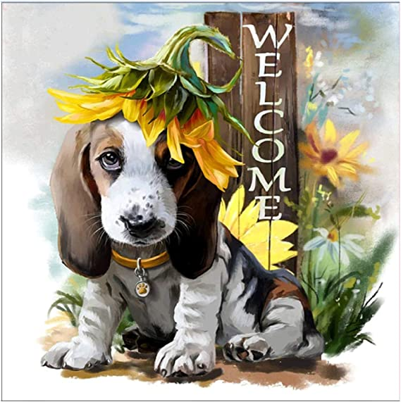 MXJSUA 5D Diamond Painting Kit Drill Arts Craft Canvas Supply for Home Wall Decor Adults And Kids Welcome Cute Basset Hound Dog 30x30cm