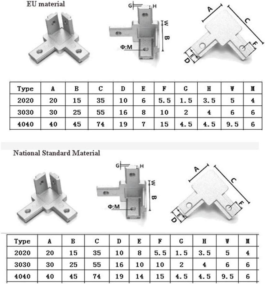 Almencla Juego De 8 Soportes De Conector Interior De 3 V/ías para Perfil De