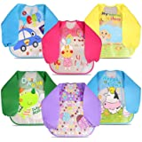 6Pcs Unisex Baby Bibs with Sleeves Waterproof Long Sleeved Bibs for 6-Month Infants to 3-Year-Old Toddlers