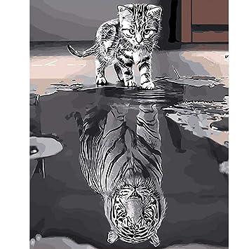 Pinte por Number Kit, DIY Pintura al óleo Dibujo Gato de reflexión Lona Colorida con cepillos Decoración Decoraciones Regalos - 16 * 20 Pulgadas con Marco: ...