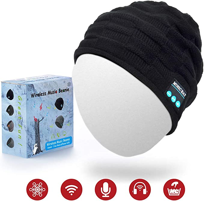 ADLOASHLOU Berretto Senza Fili Bluetooth Beanie Berretto Senza Fili Bluetooth Stereo HD 5.0 Cappello da Musica Caldo Lavorato a Maglia con Altoparlante Mic Mani libere Sport allaperto