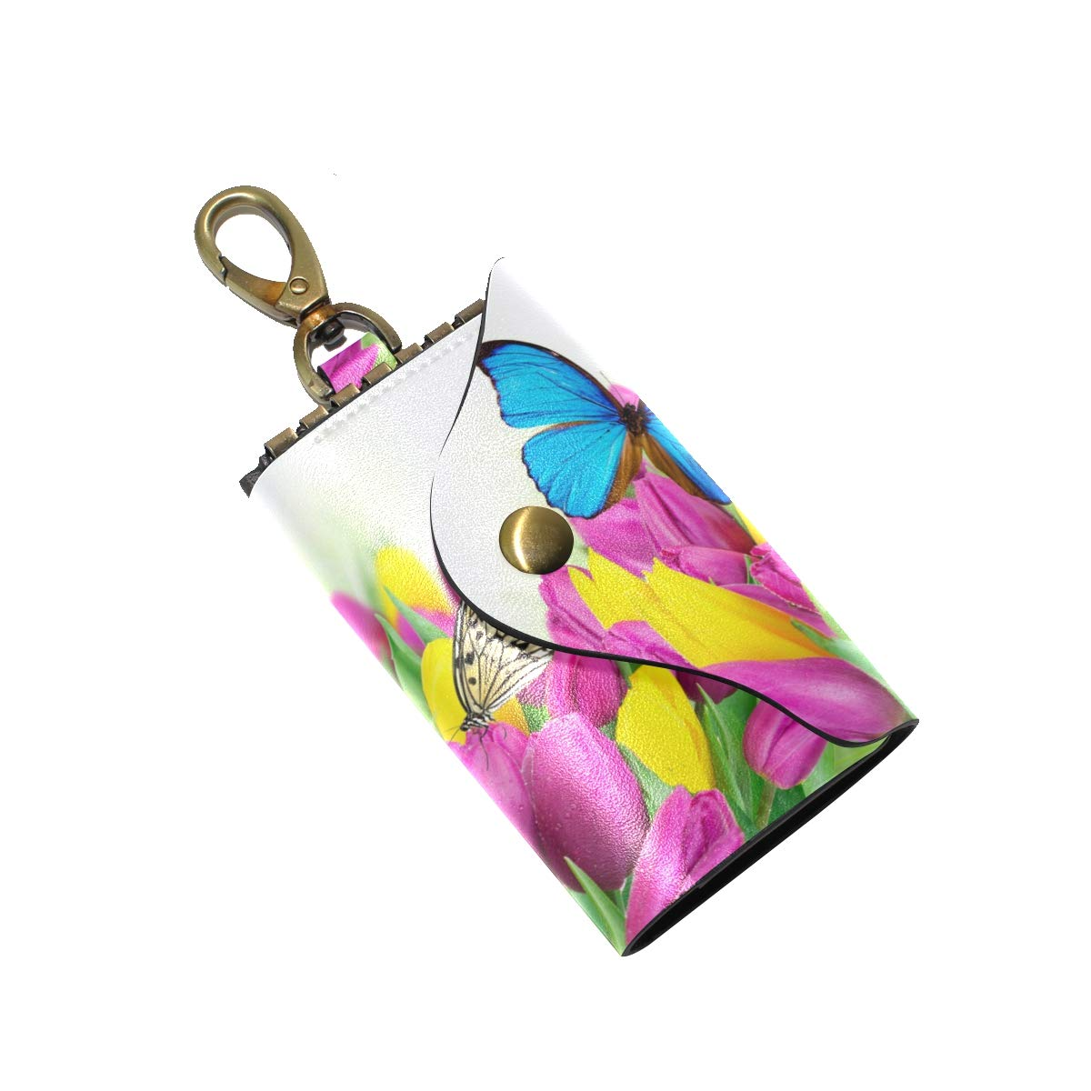 KEAKIA Tulips And Butterflies Leather Key Case Wallets Tri-fold Key Holder Keychains with 6 Hooks 2 Slot Snap Closure for Men Women
