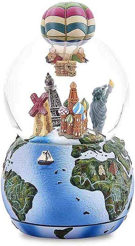 Bola De Cristal Porcelana Fría Viajar por El Mundo Caja De Música,Creativo Girar Micro Paisaje Decoración Regalo: Amazon.es: Deportes y aire libre