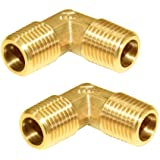 """Joywayus Male Elbow Pipe Fitting 1/4"""" NPT Male x 1/4"""" NPT Male 90-Degree Forged Brass Fitting Right Angle(Pack of 2)"""