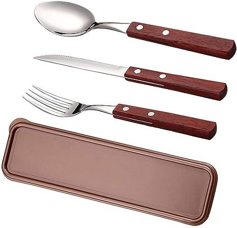 Juego de cubiertos portátil con funda, utensilios de almuerzo/viaje, 3 piezas de mango de madera y acero inoxidable, cuchara de tenedor saludable y ...
